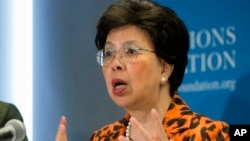 世界衛生組織總幹事陳馮富珍9月3日在華盛頓聯合國基金會會議上講話。