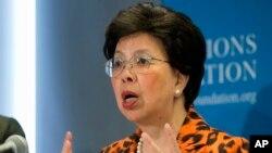Mkurugenzi wa WHO Margaret Chan akiwa washington DC akizungumzia juu ya khofu ya kusambaa Ebola, Sept. 3, 2014.