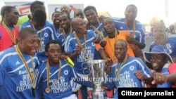 Dynamos Football Club players celebrating last year after winning the Mbada Diamond Cup. This time they want to retain the league championship. (File Photo)