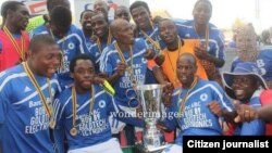Dynamos Football Club players celebrating after winning the Mbada Diamond Cup last year. (Photo/Citizen Journalist)