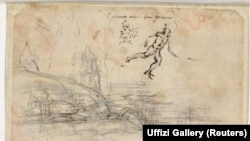 Landscape, human figures and handwriting on the back side of 'Il Paesaggio' by Leonardo da Vinci revealed through infrared scanning