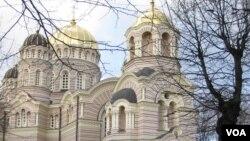 波羅的海國家拉脫維亞的主要東正教堂-聖誕基督大教堂位於里加市中心資料照。