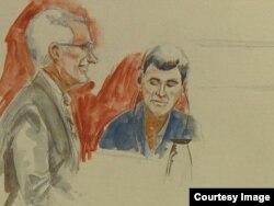 Fazliddin Qurbonov, o'ngda, advokati Charlz Piterson bilan - sud jarayoni tasvirlangan chizgi