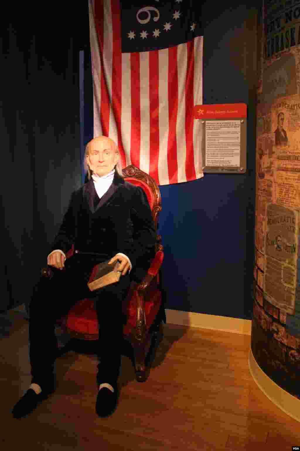 جان کوینسی آدامز - پسر جان آدامز - ششمین رئیس جمهور آمریکا بود. او که پیش از ریاست جمهوری به عنوان وزیر امور خارجه کار می کرد، سیاست خارجی آمریکا را بر اساس تعهدات ملی گرایانهاش شکل داد و از دیپلماتهای بزرگ آمریکا به شمار میرود.