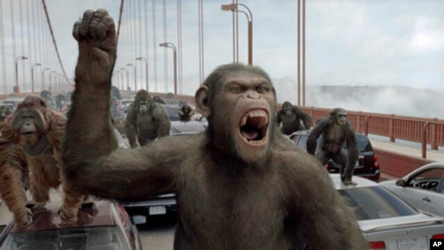 On the Golden Gate Bridge, Caesar leads a revolution that will ultimately lead to the 'Rise of the Planet of the Apes.'