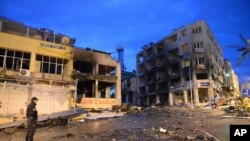 Поврежденные от взрыва здания