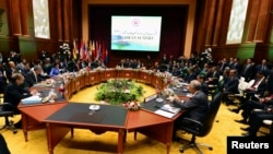 General view of the meeting room at the 23rd ASEAN Summit in Bandar Seri Begawan, Oct. 9, 2013.