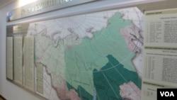 俄羅斯地圖上標識的赤塔州/後貝加爾邊疆區(右下角)。 (美國之音白樺拍攝)
