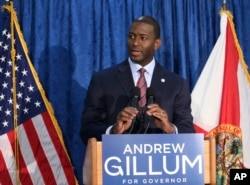 Andrew Gillum, the Democrat candidate for governor, speaks at a news conference on Nov. 10, 2018, in Tallahassee, Florida.