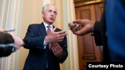 FILE - U.S. Senate Foreign Relations Committee Chairman Bob Corker speaks to reporters Sept. 14, 2016.