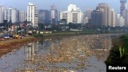 En la imagen, basura flotando sobre el río Pinheiros en Sao Paulo, Brasil, una de las 28 megaciudades del mundo hoy.