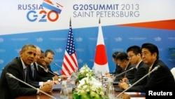 9月5日美国总统奥巴马在G20峰会上与日本首相安倍晋三讨论叙利亚局势