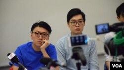 本土民主前線發言人梁天琦(左)與香港民族黨召集人陳浩天。(資料圖片 美國之音湯惠芸攝)