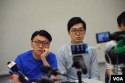 本土民主前線發言人梁天琦(左)與香港民族黨召集人陳浩天。(美國之音湯惠芸攝)
