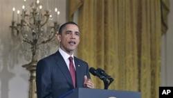 وائٹ ہاؤس: صدر اوباما لیبیا پر بیان دیتے ہوئے