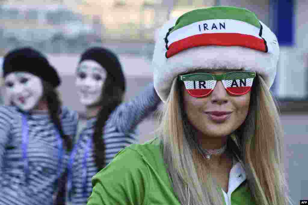An Iranian fan poses outside the Mordovia Arena prior to the Russia 2018 World Cup Group B football match between Iran and Portugal in Saransk.