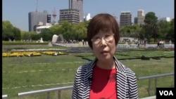 Keiko Ogura berusia delapan tahun saat dijatuhkannya bom atom di kota Hiroshima. (VOA/B. Padden)