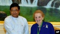 缅甸副总统6月3日会晤到访的美国前国务卿奥尔布赖特