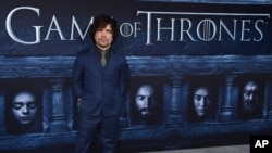 "FILE - Peter Dinklage attends the season six premiere of ""Game Of Thrones"" at TCL Chinese Theatre in Los Angeles, California, April 10, 2016."