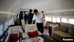 中國上海虹橋機場展出的波音商業BBJ 777 噴氣機(2014年4月15日)