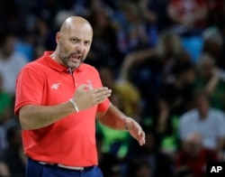 Rio Olympics Basketball Men: Serbia head coach Sasha Djordjevic directs his team during the men's gold medal basketball game against the United States at the 2016 Summer Olympics in Rio de Janeiro, Brazil, Sunday, Aug. 21, 2016.