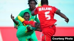 Warriors in action at Levy Mwanawasa Stadium on Wednesday in a COSAFA Castle Cup semi-final match clash with Lesotho