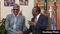 Rais wa Kenya Uhuru Kenyatta Alhamisi alifanya mkutano na rais wa Nigeria Muhamadu Burari katika ikulumjini Nairobi Alhamisi tarehe 28 Januari mwaka wa 2016.