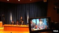 El presidente de Bolivia, Evo Morales, en la sede de Naciones Unidas en Nueva York en donde explicó por qué no pudo saludar a Hugo Chávez. [Foto: Celia Mendoza]