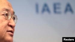 4일 오스트리아 빈에서 열린 국제원자력기구 회의에서 아마노 유키야 국제원자력기구(IAEA) 사무총장.