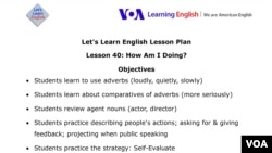 Lesson Plan - Lesson 40: How Am I Doing?