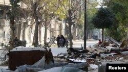 حلب میں بمباری کے بعد تباہی کا منظر ۔ 14 نومبر 2016
