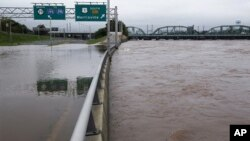 The area's major north-south highway, Route 29, is flooded, Trenton, N.J., as the Delaware River continues to rise, September 8, 2011.