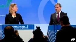 Visoka predstavnica EU Federika Mogerini i evropski komesar za proces pregovora Johanes Han