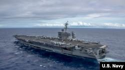 美軍卡爾文森號航母2017年2月3日在南中國海巡航 (美國海軍照片)