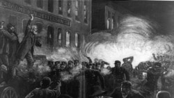 A print showing the explosion that started the Haymarket riot in May 1886
