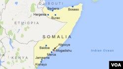 Peta kota Bosaso di Somalia utara (foto: ilustrasi).
