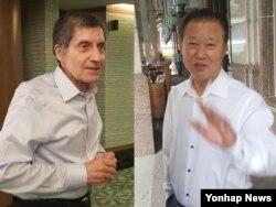 미국과 북한의 비공개 접촉이 진행 중인 지난 22일 말레이시아 쿠알라룸푸르의 한 호텔에서 장일훈 북한 유엔주재 차석대사(오른쪽)와 조지프 디트라니 전 미국 6자회담 차석대표가 각각 기자들과 이야기를 나누고 있다.
