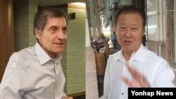 미국과 북한의 비공개 접촉이 진행 중인 지난달 22일 말레이시아 쿠알라룸푸르의 한 호텔에서 장일훈 북한 유엔주재 차석대사(오른쪽)와 조지프 디트라니 전 미국 6자회담 차석대표가 각각 기자들과 이야기를 나누고 있다.