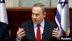 베냐민 네타냐후 이스라엘 총리가 16일 예루살렘에서 각료회의를 주재하고 있다.