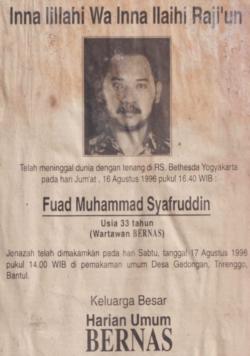 Kabar duka cita meninggalnya Udin di media tempatnya bekerja.