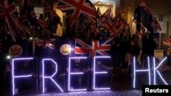 香港反政府示威者2019年10月23日到英國駐港領事館前集會(路透社)
