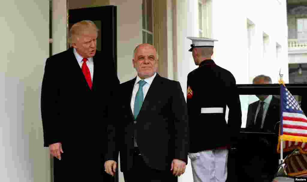 Firai Ministan kasar IraqiHaider al-Abadi ya gana da takwaran aikinsa na Amurka Donald Trump a Fadar White House, inda suka tattauna kan al'amuran huldodin da suka shafi kasashensu, a ranar Litinin 20 ga watan Maris 2017.