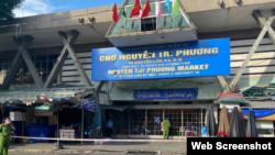Chợ Nguyễn Tri Phương ở quận 10, Tp. HCM bị phong tỏa hôm 27/6/2021. Photo Tuoi Tre.