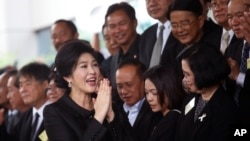 Mantan Perdana Menteri Thailand Yingluck Shinawatra tiba di Mahkamah Agung untuk sidang dengar pendapat terakhir di Bangkok, Thailand, 21 Juli 2017.