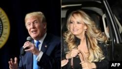 Donald Trump (esq) e Stephanie Clifford, conhecido por Stormy Daniels (dir)