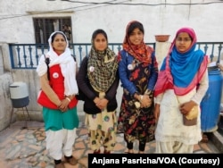 These girls made it to college from their small village in India are now talking about the importance of educating girls. From left to right: Shahnaz Bano, Arastoon, Anjul Islam and Rizwana