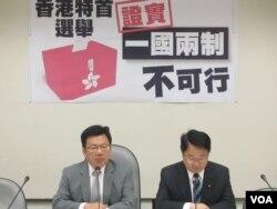 台湾执政党民进党就香港特首选举召开记者会(美国之音张永泰拍摄)