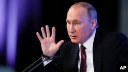 Президент Путін під час прес-конференції у Москві. 23 грудня 2016.