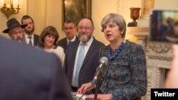Thủ tướng Anh Theresa May phát biểu tại tư gia ở Số 10 Phố Downing, London, Anh, ngày 15 tháng 9, 2017