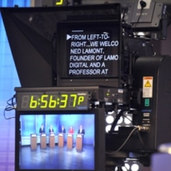 A teleprompter at a debate last year for Democratic candidates for governor in Connecticut